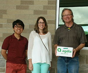 Andy Witherall, Afnan (a graduate student of Amy Charkowksi's) and Brooke Babler when they visited Agdia.